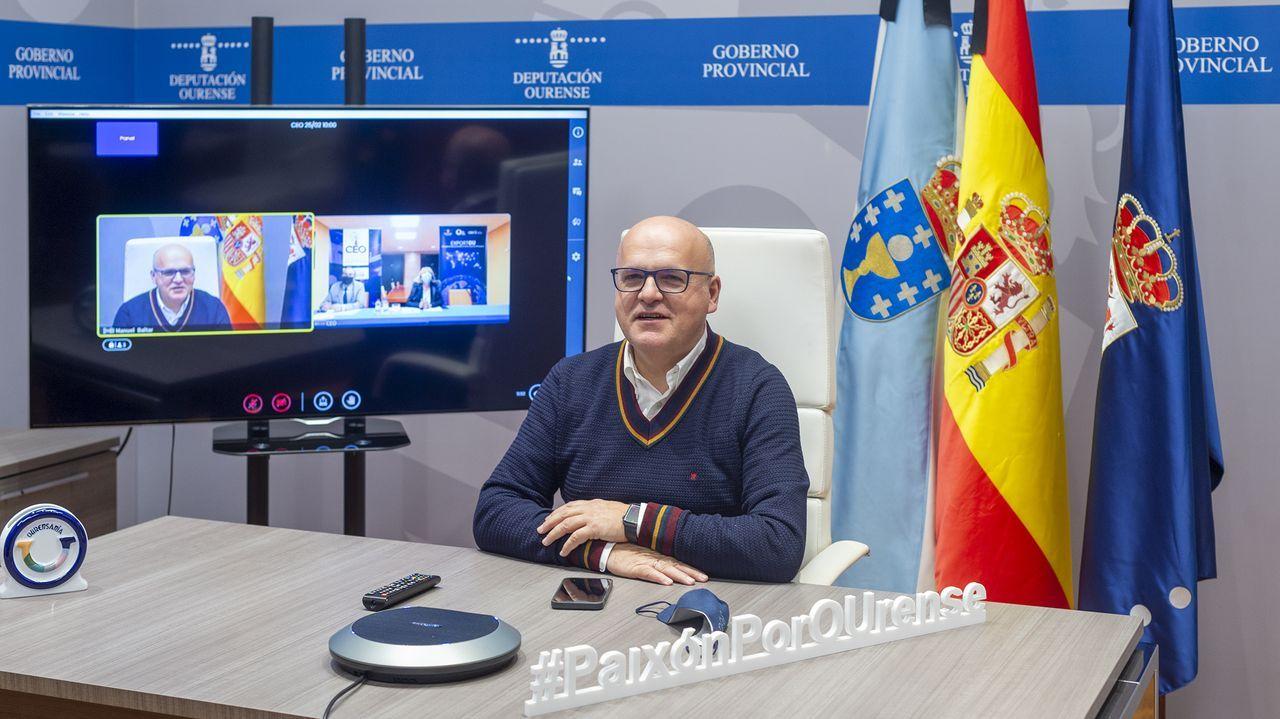 Reunión por videoconferencia de José Manuel Baltar y Marisol Nóvoa
