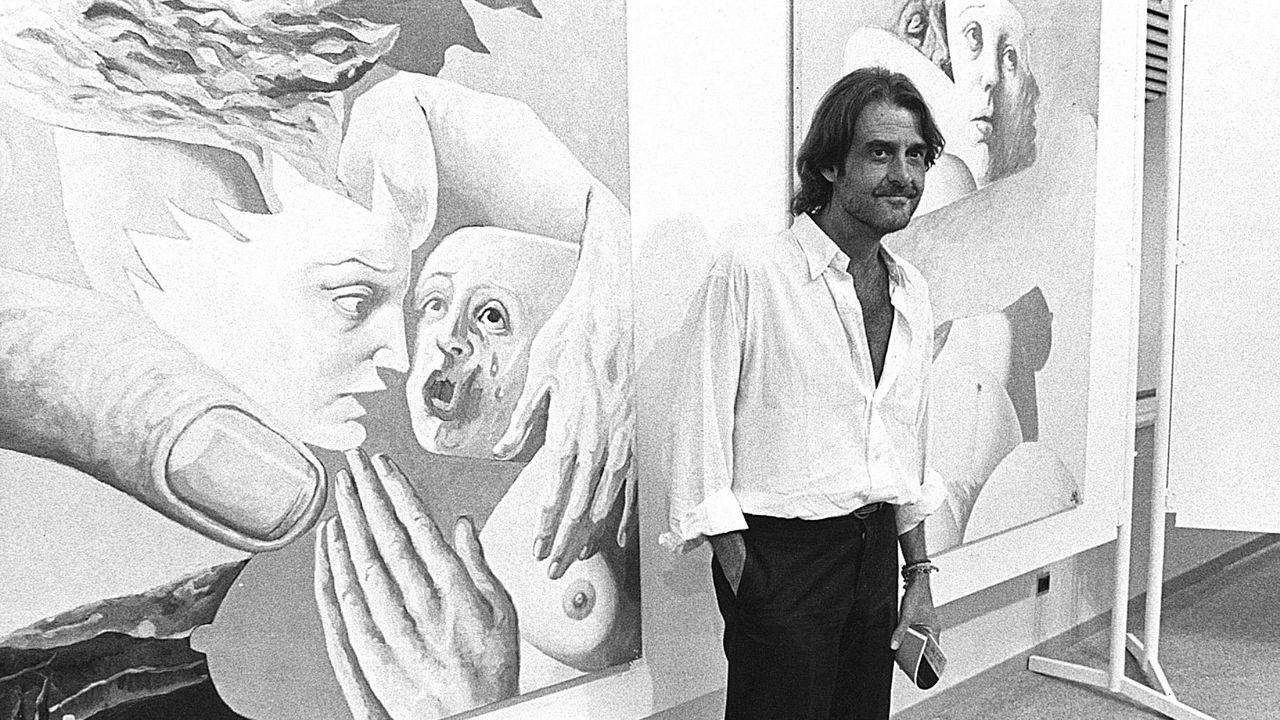 Aunque es conocido sobre todo por su música, Aute también se dedicó a la pintura. Aquí en una exposición en Pontevedra en 1988