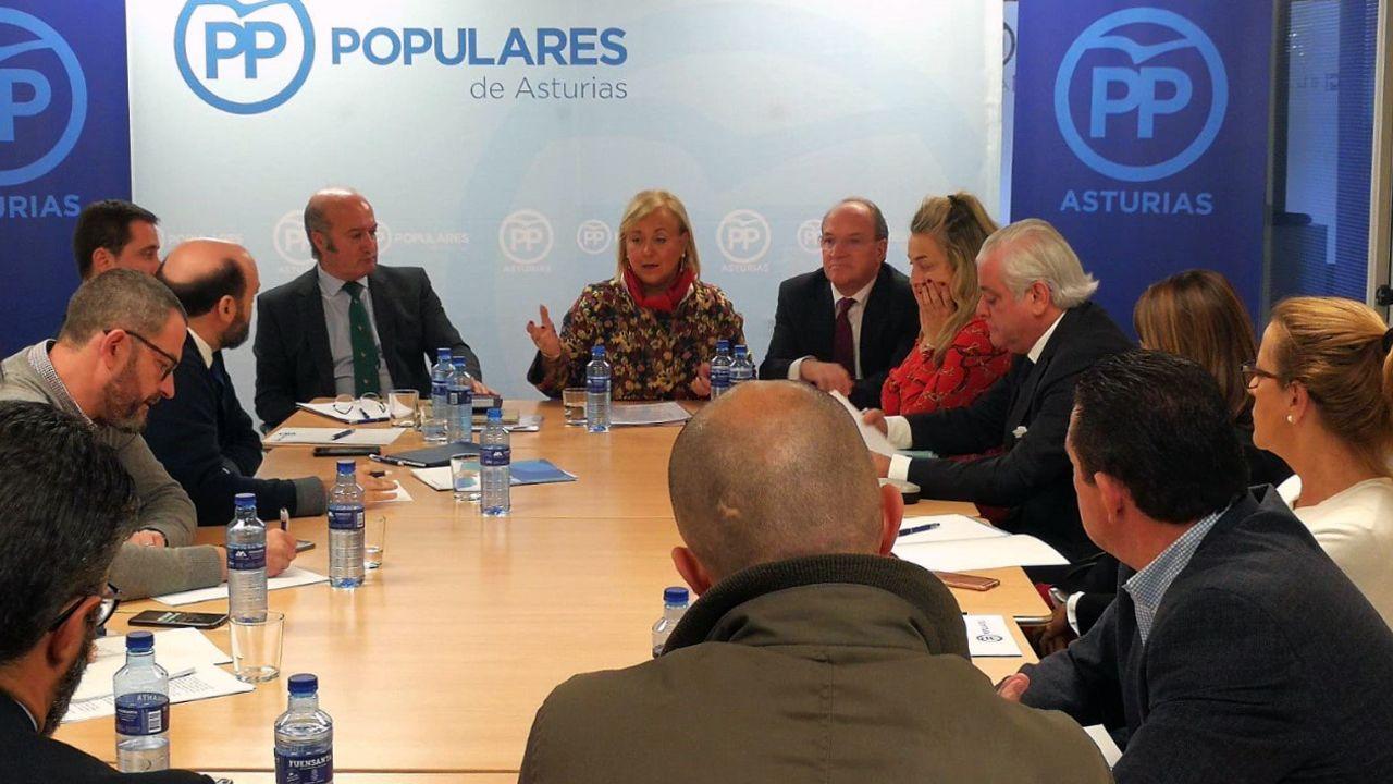 El presidente del Principado, Javier Fernández (d), y la presidenta del PP de Asturias, Mercedes Fernández (i), al inicio de la reunión para la negociación del proyecto de Presupuestos Generales de Asturias para 2019