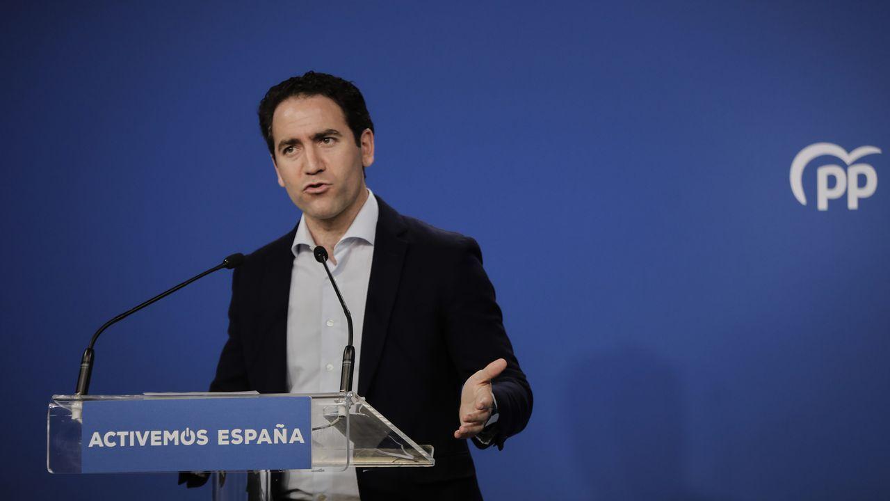 El secretario general del PP, Teodoro García Egea, durante su valoración del 12J