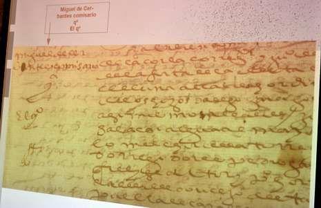 El poder notarial, con la firma de Cervantes en la esquina superior izquierda.
