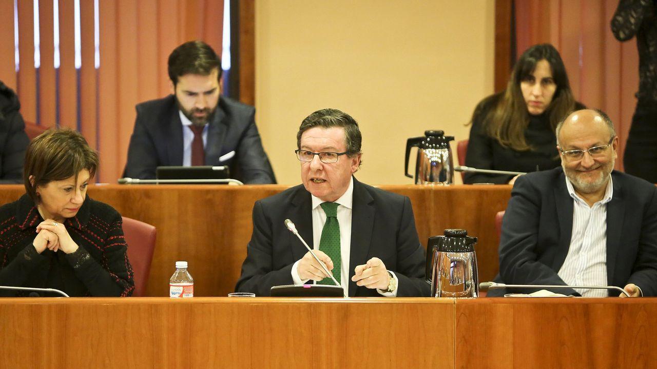 López Font, en el medio en la imagen, en una foto de archivo de una sesión plenaria de enero de este año