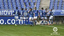 gol Rodri Real Oviedo Sabadell Carlos Tartiere.Los futbolistas del Real Oviedo celebran el gol de Rodri Ríos ante el Sabadell