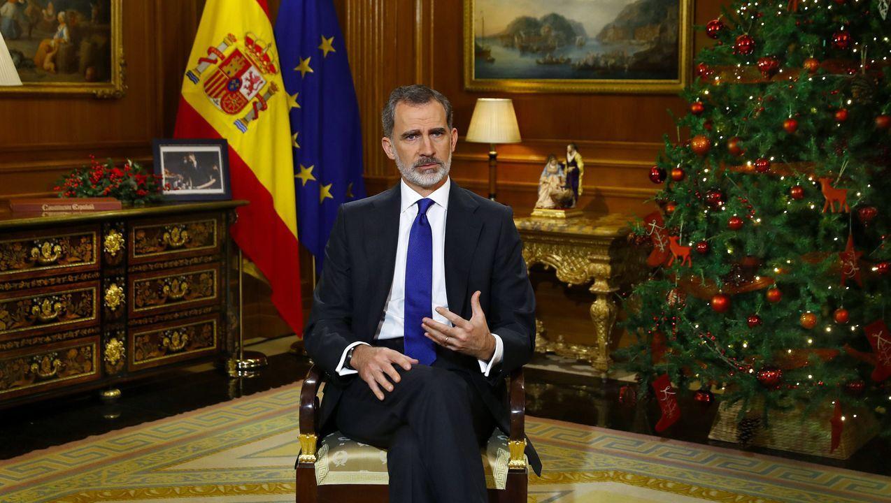 Felipe VI pronuncia su tradicional discurso de Nochebuena.La vicepresidenta Carmen Calvo