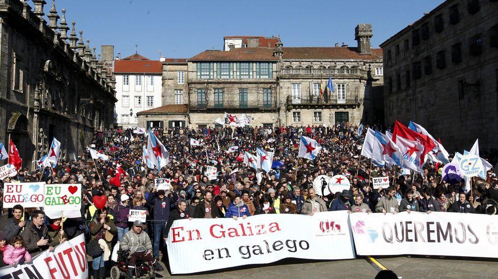 Vista de Praza da Quintana, onde rematou a manifestación