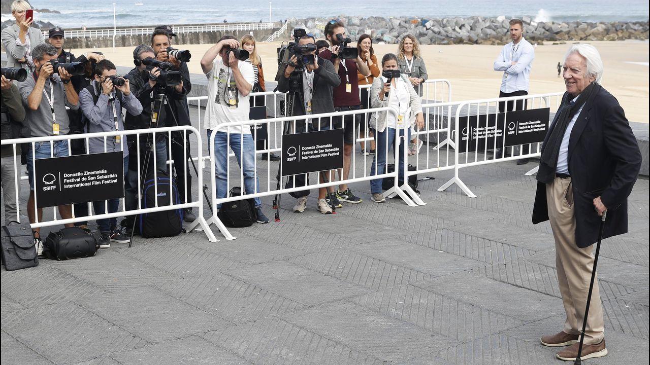 El actor canadiense Donald Sutherland, este jueves en el Festival Internacional de Cine de San Sebastián, en donde presentó su película «Una obra maestra», un «thriller» dirigido por Giuseppe Capotondi