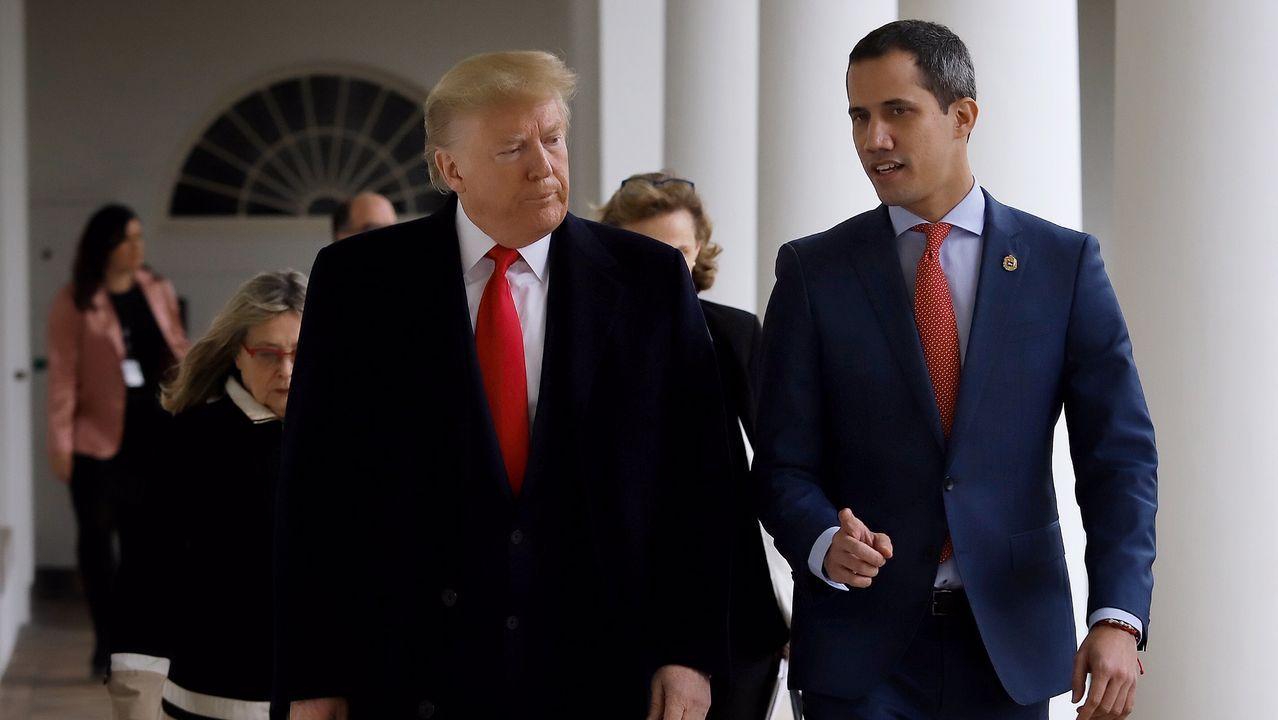 Trump con Guaido en la reunión que mantuvieron en la Casa Blanca el pasado 5 de febrero