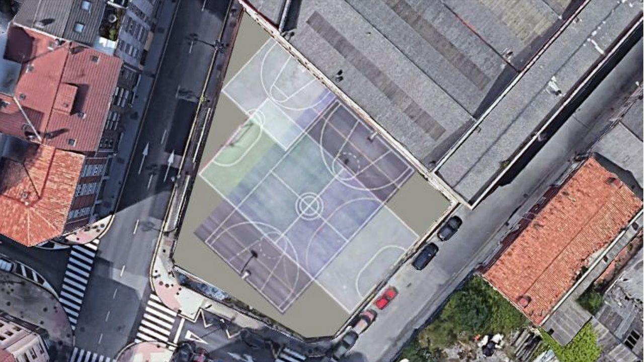 Imagen virtual de las canchas deportivas que los vecinos piden en la parcela libre entre las calles Coronel Bobes y Almacenes Industriales, en el barrio de Ciudad Naranco de Oviedo