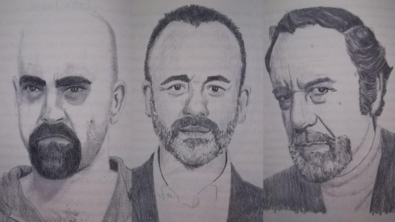 Retratos de Luís Tosar, Javier Gutiérrez y Fernando Rey incluidos en el libro