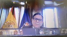 Alfredo Canteli durante el pleno municipal de junio de 2020 del Ayuntamiento de Oviedo celebrado telemáticamente