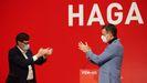 Salvador Illa y Pedro Sánchez, en un mitin telemático de apertura de campaña para el 14F