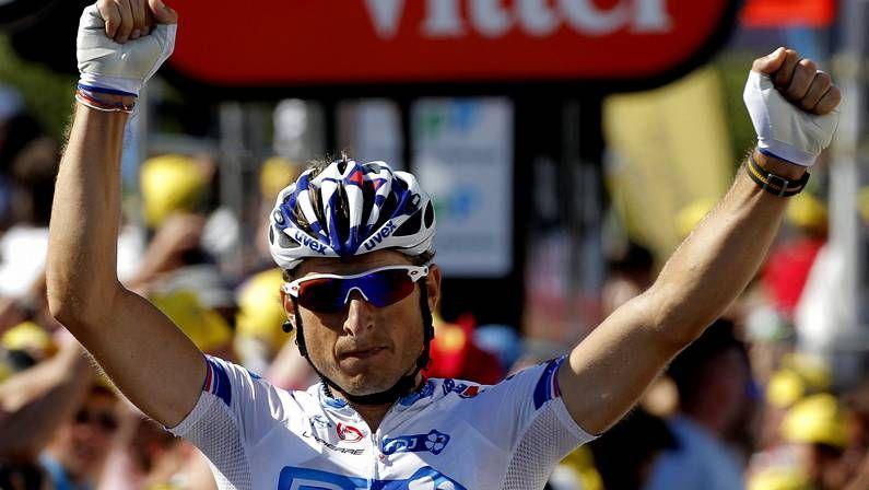 El Tour de Francia 2012.Fedrigo celebra su triunfo de etapa en el Tour