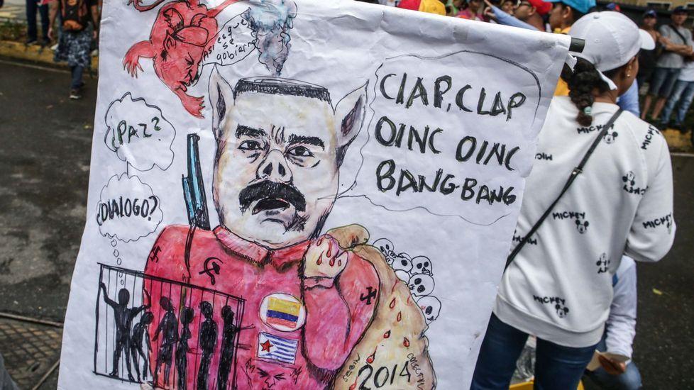 venezuelah.Imagen de archivo de una manifestación contra Maduro en Venezuela