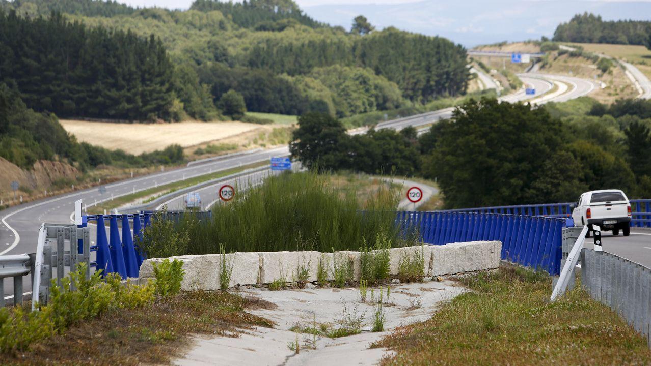 Así es el Pazo de Neira, a la venta por 1,8 millones.El turismo siniestrado, justo a la salida del túnel y comienzo del viaducto sobre el río Neira