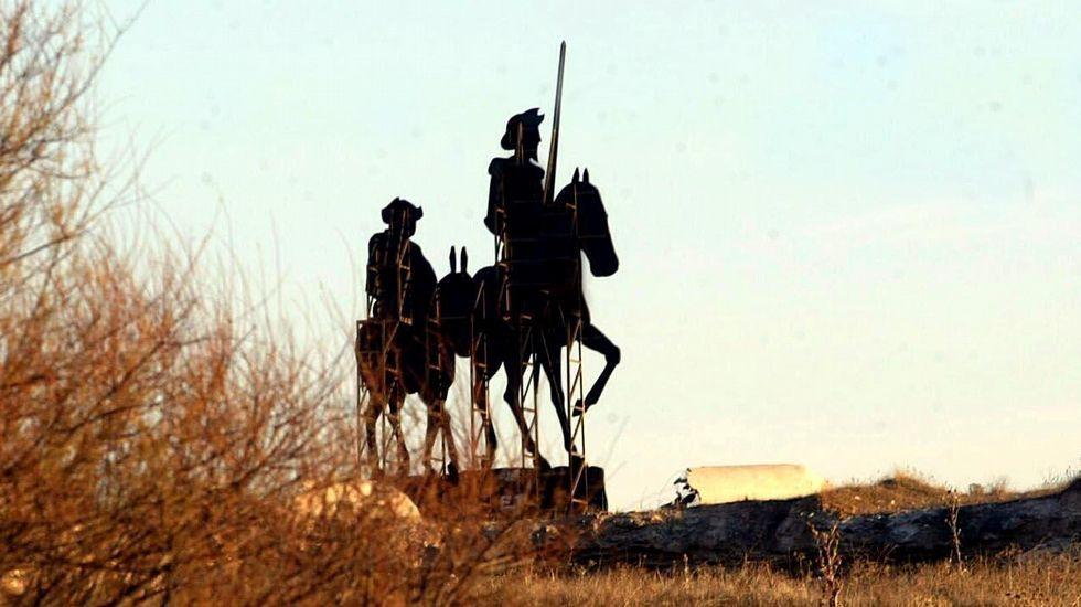 El Quijote cabalga por toda España.Fragmento de la portada del libro que publica Trifolium