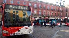 Presentación de los siete nuevos autobuses híbridos de Emtusa