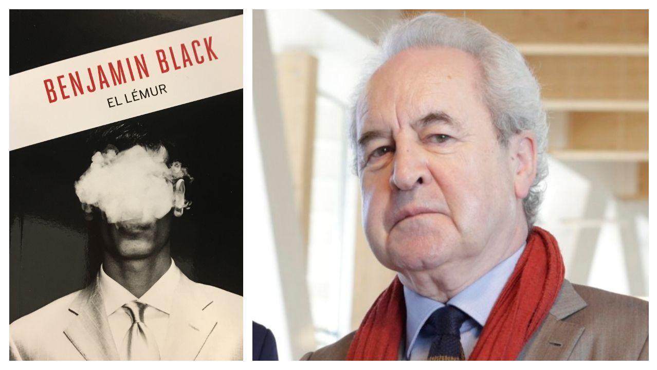 El escritor irlandés John Banville, autor que está detrás de Benjamin Black, junto a la portada de su novela «El Lémur»