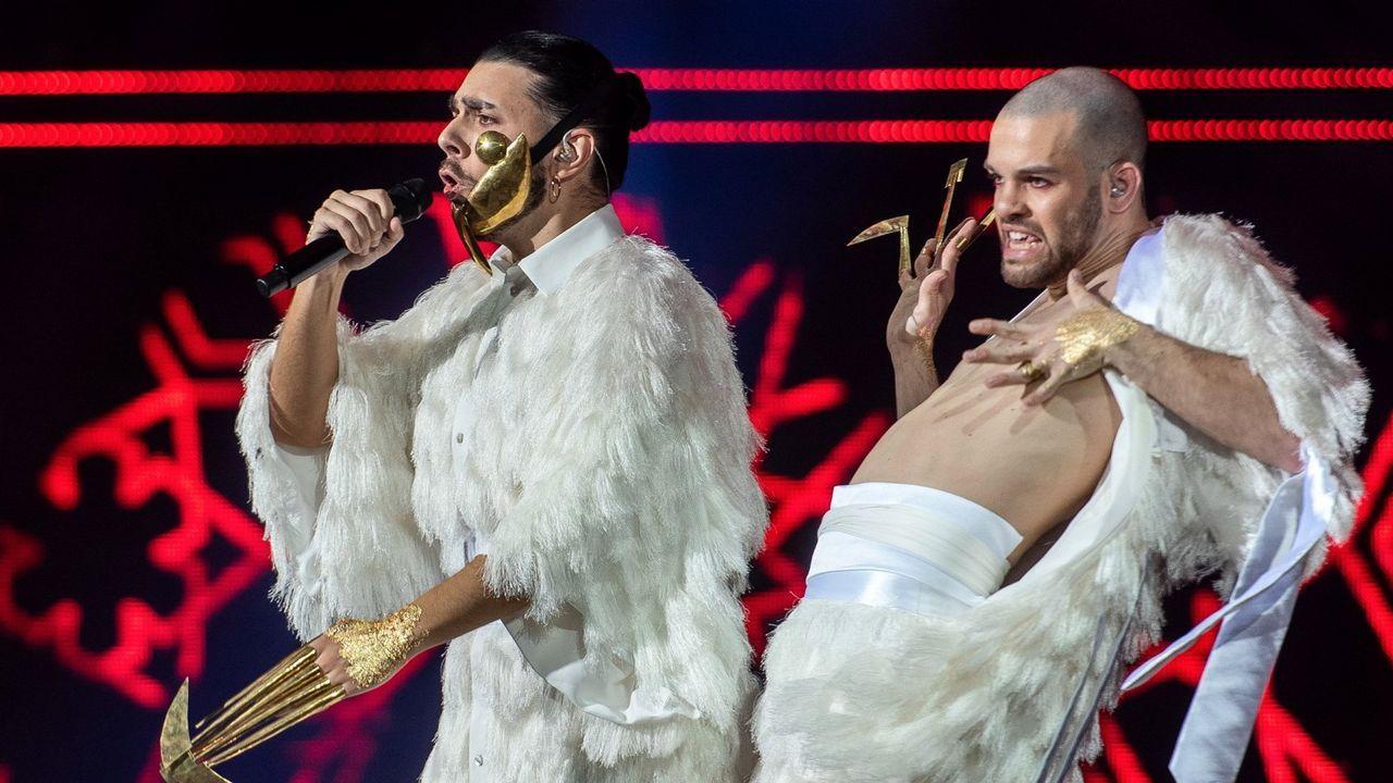 El circo de los animales en 3D.Conan Osiris, a la izquierda, interpreta el tema que representará a Portugal en Eurovisión 2019