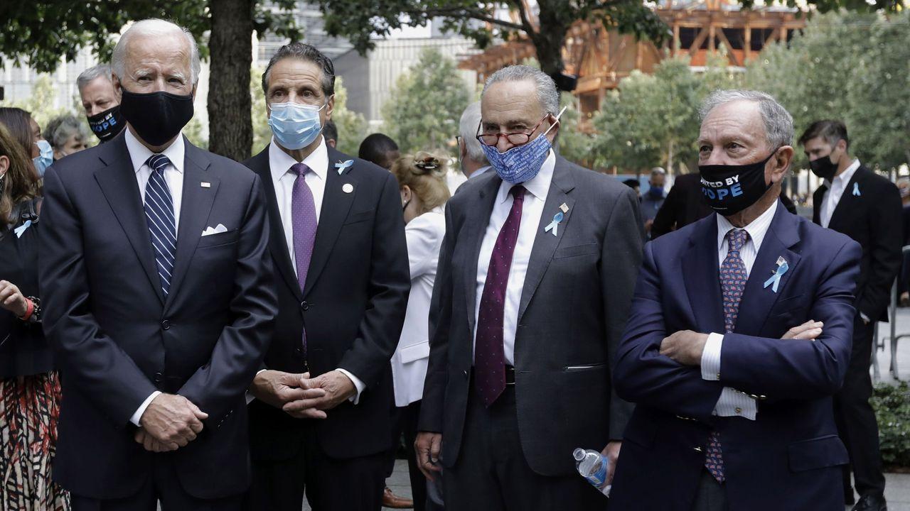 Biden ( a la izquierda) y Bloomberg (derecha), durante un acto el pasado viernes por el 19º. aniverasario del 11S