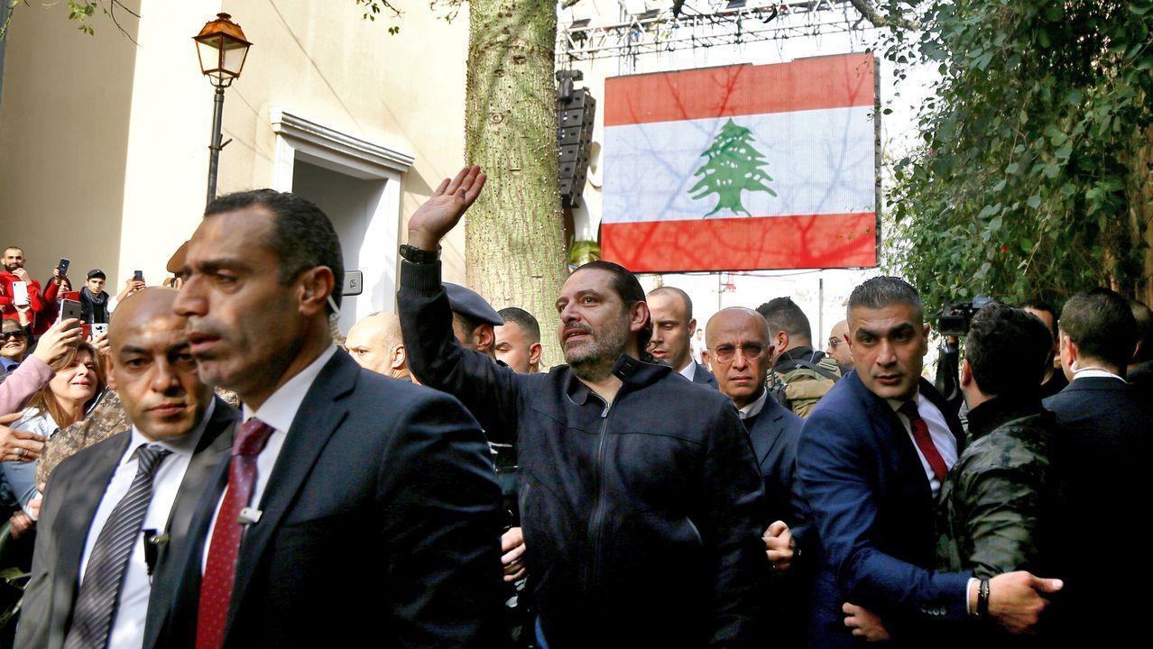 Los enfrentamientos entre la policía y los manifestantes en Beirut.El exprimer ministro de Líbano Saad Hariri en un homenaje por el 15º aniversario del asesinato de su padre, también primer ministro del pais, Rafic Hariri