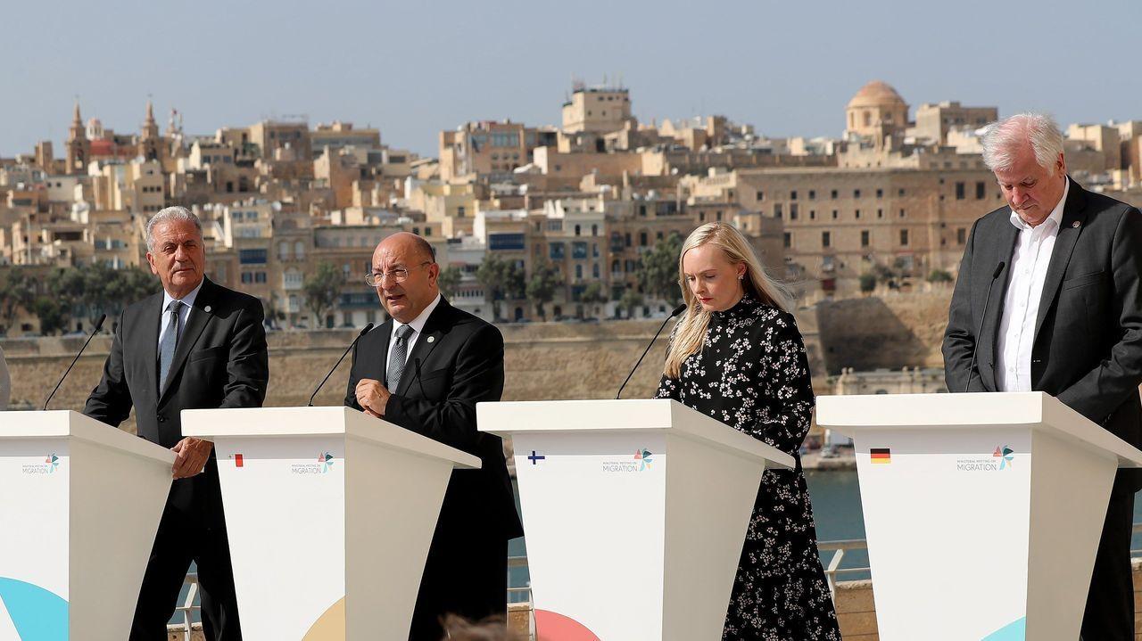 Los ministros del Interior de Francia, Alemania, Italia y Malta informaron a la prensa del acuerdo alcanzado