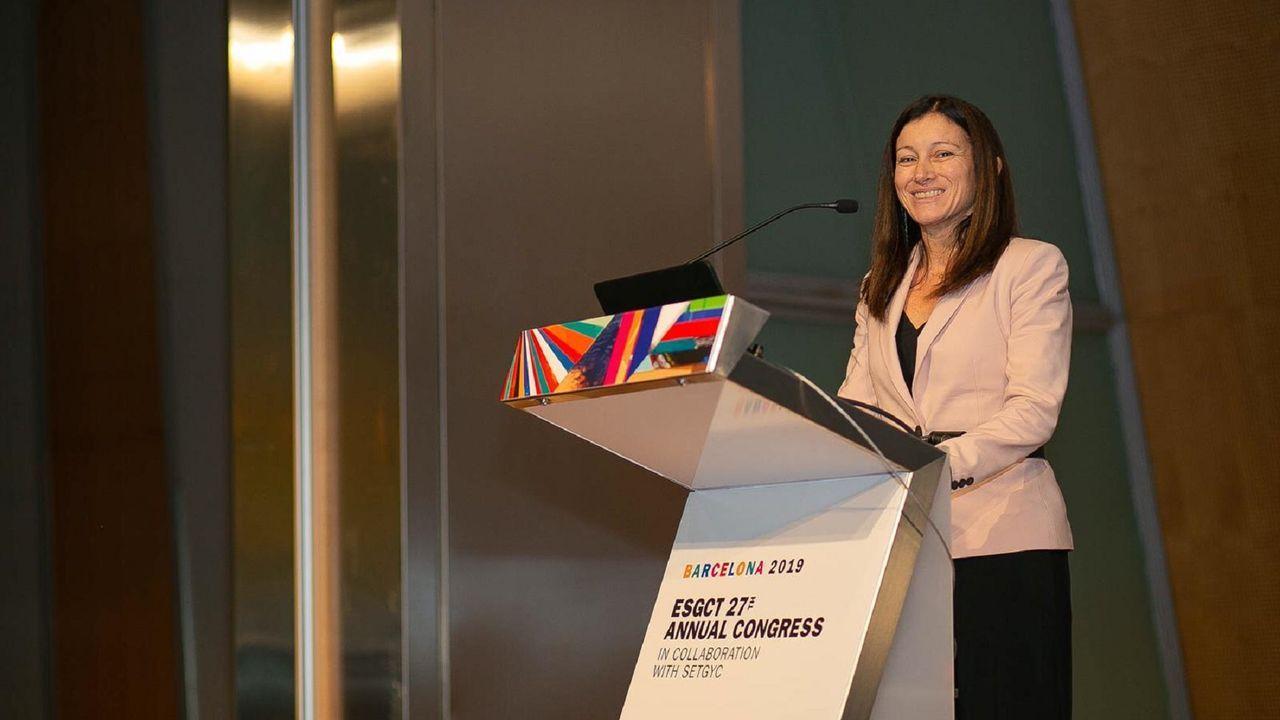 La científica ferrolana, durante su participación en un congreso de terapia génica