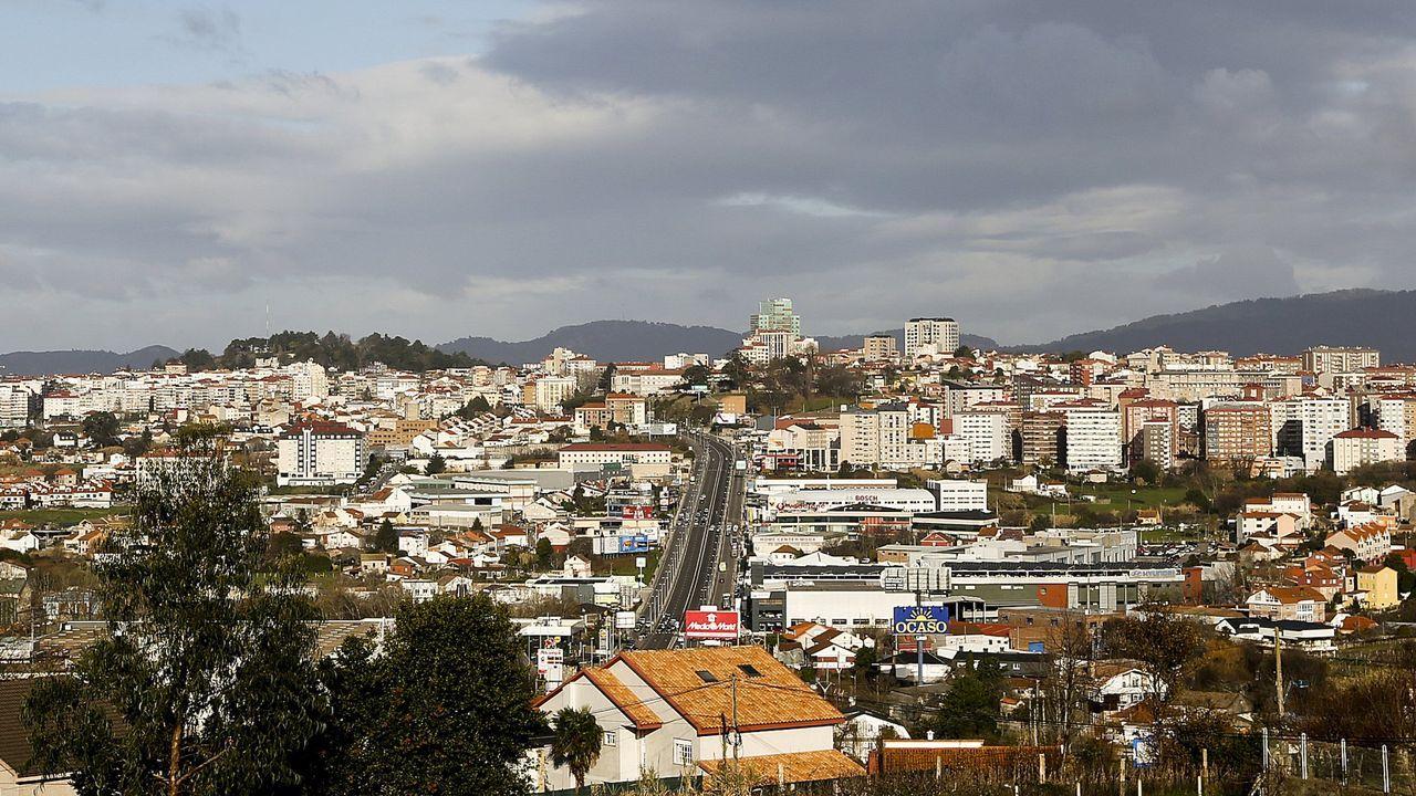 Del interior del número 32 de la calle Coruña asoma la maleza, que alcanza varios metros de altura
