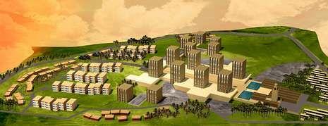 Maqueta del proyecto urbanístico previsto en Setif (Argelia), donde se puede ver la mezquita, el espacio comercial y la zona residencial.