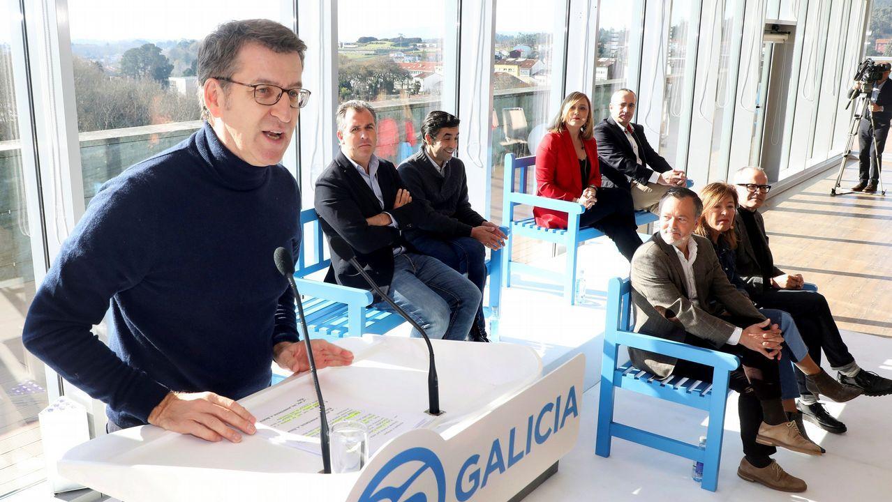 El presidente Núñez Feijoo durante una intervención en Santiago