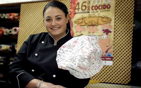Cristina Lamas, en Lalín, onde está a visitar á familia con motivo da Feira do Cocido.