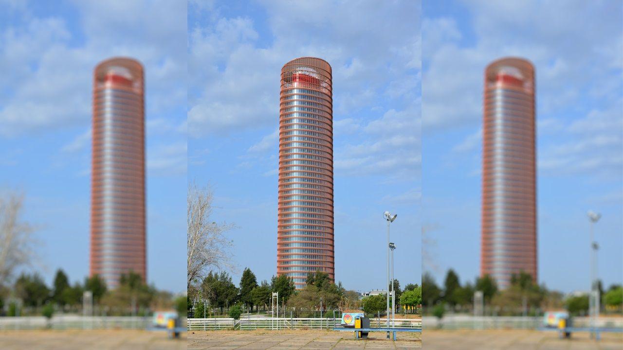 TORRE SEVILLA (Sevilla) - El edificio del arquitecto César Pelli es el rascacielos más alto de Andalucía con 180 metros. Suma 40 plantas, la mitad de las que pretende alcanzar el rascacielos que se proyecta en Ourense