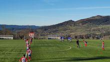 derbi juvenil Real Oviedo Sporting Division de Honor Tensi.Un instante del derbi juvenil entre Real Oviedo y Sporting