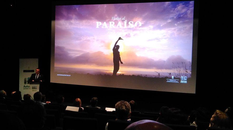 Campaña 2017 «Vuelve al Paraíso. Ven a Asturias».Un grupo de pasajeros consulta los vuelos en el Aeropuerto de Asturias