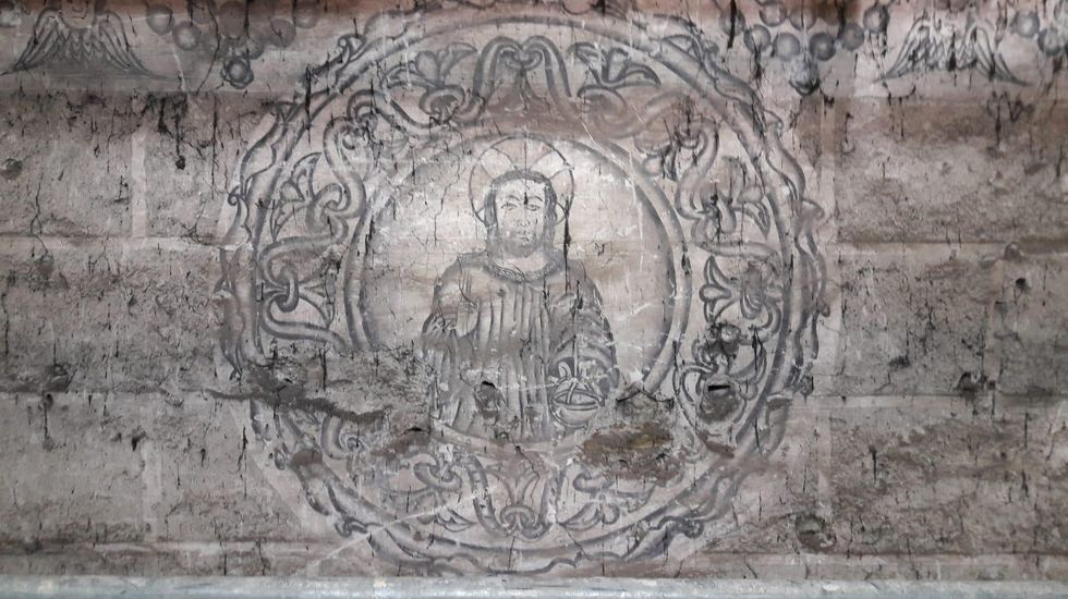 Drones y escáneres en la iglesia de Xil.Imagen de Cristo representada en el conjunto de pinturas murales