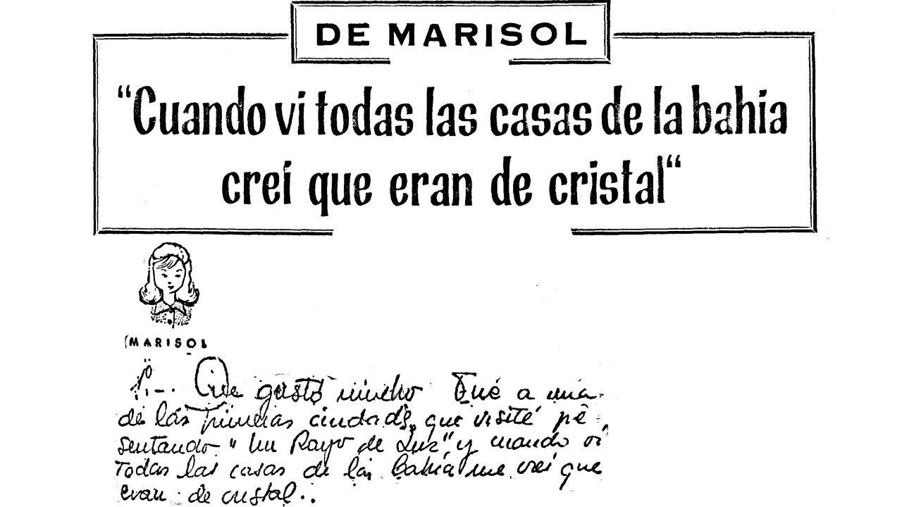 Carta de Marisol publicada el 6 de agosto del 1964