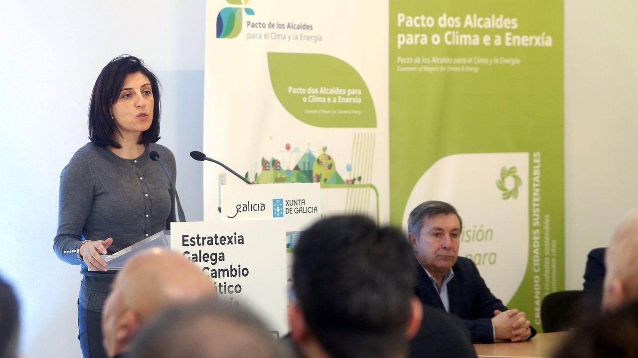 La conselleira de Medio Ambiente, Ángeles Vázquez, en una presentación pública del pacto de los alcaldes por el clima celebrada en Ribeira, en una imagen de archivo