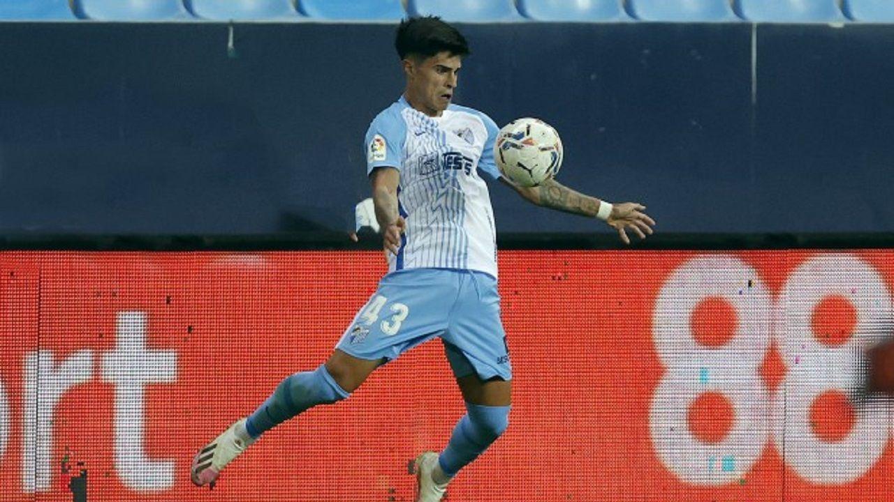Juan Cruz, en un partido con el primer equipo del Málaga