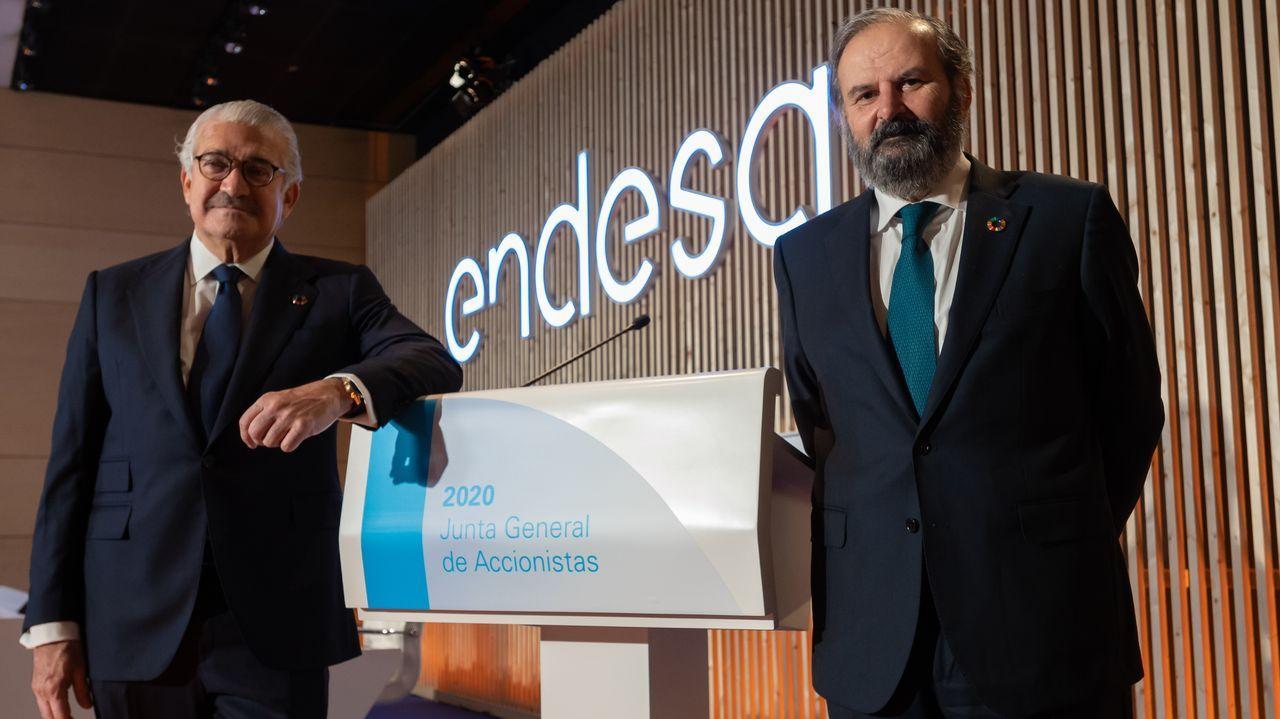 El consejero delegado de Endesa, José Bogas, a la izquierda, y su presidente, Juan Sánchez Calero