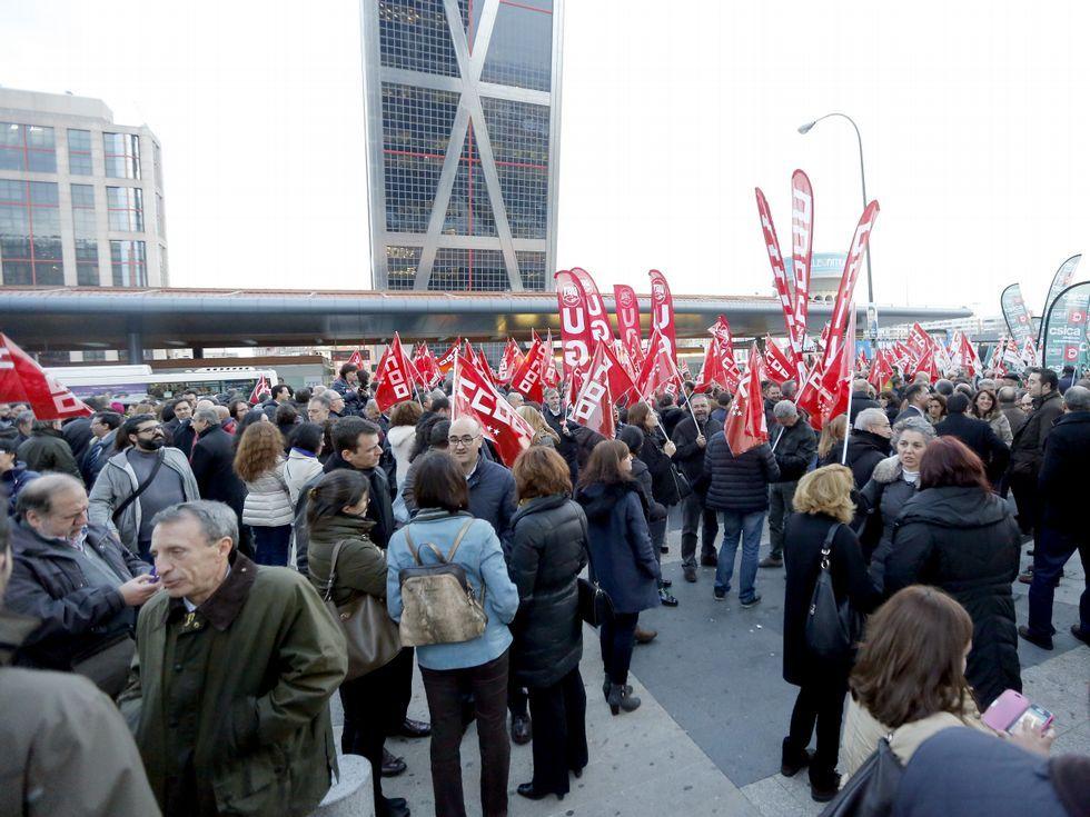 Trabajadores del sector protestaron ayer en Madrid.