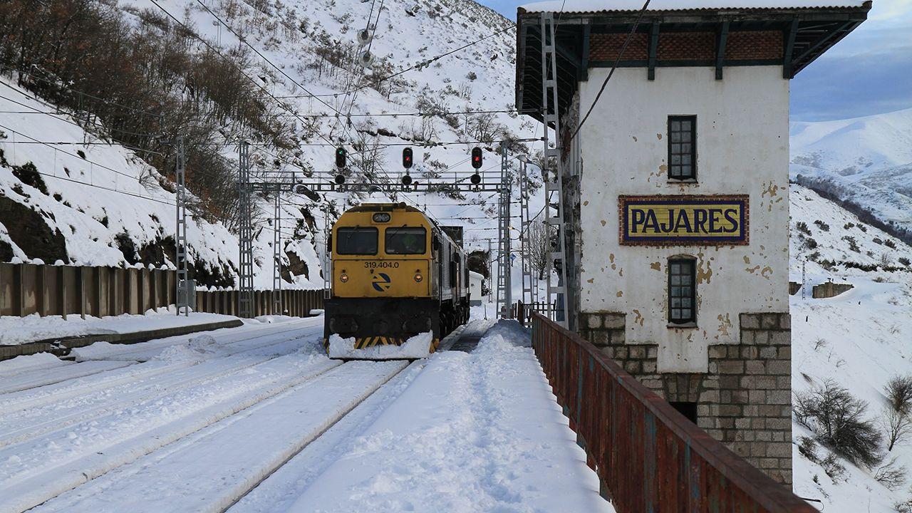 Un tren circula por una vía nevada en Pajares