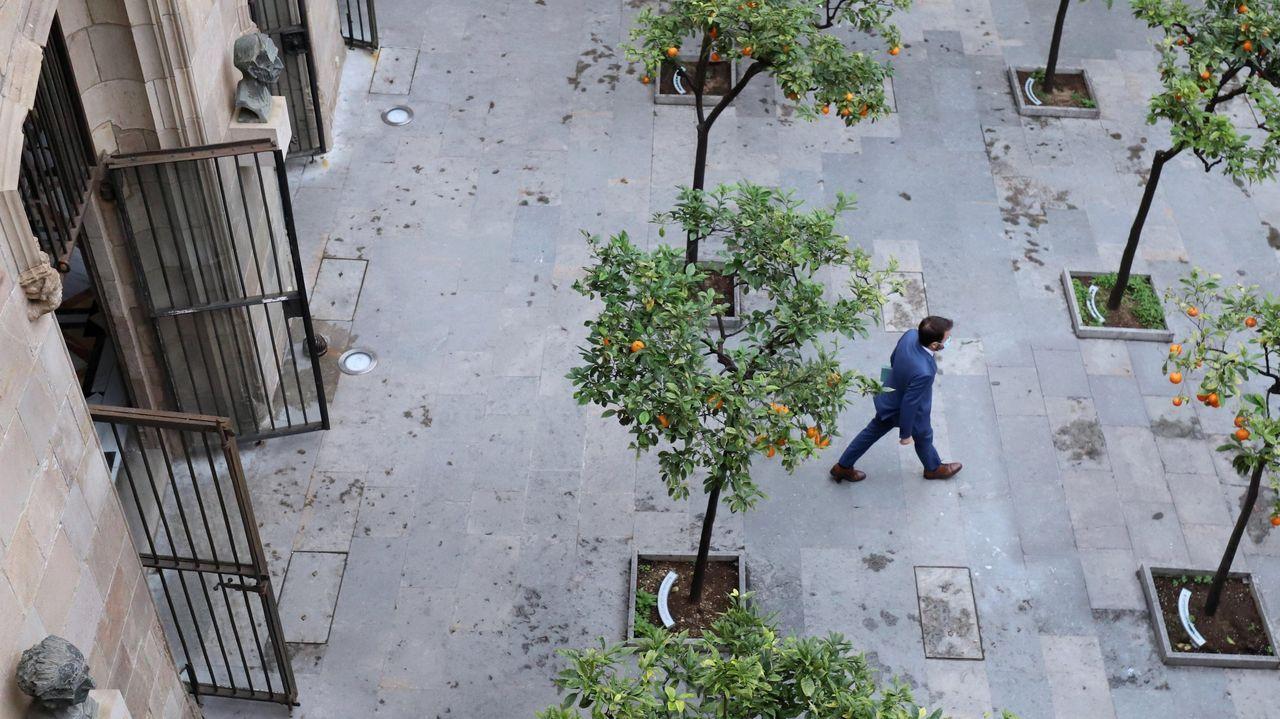 El presidente de la Generalitat, Quim Torra, tras la declarción institucional en la que ha anunciado elecciones anticipadas en Cataluña