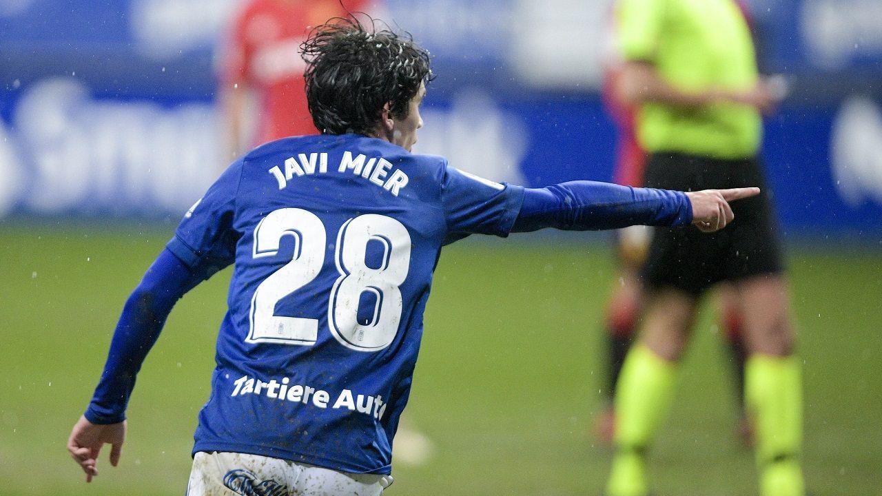Leschuk Bueno Borja Sanchez Girona Real Oviedo Montilivi.Javi Mier celebra su gol frente al Mallorca