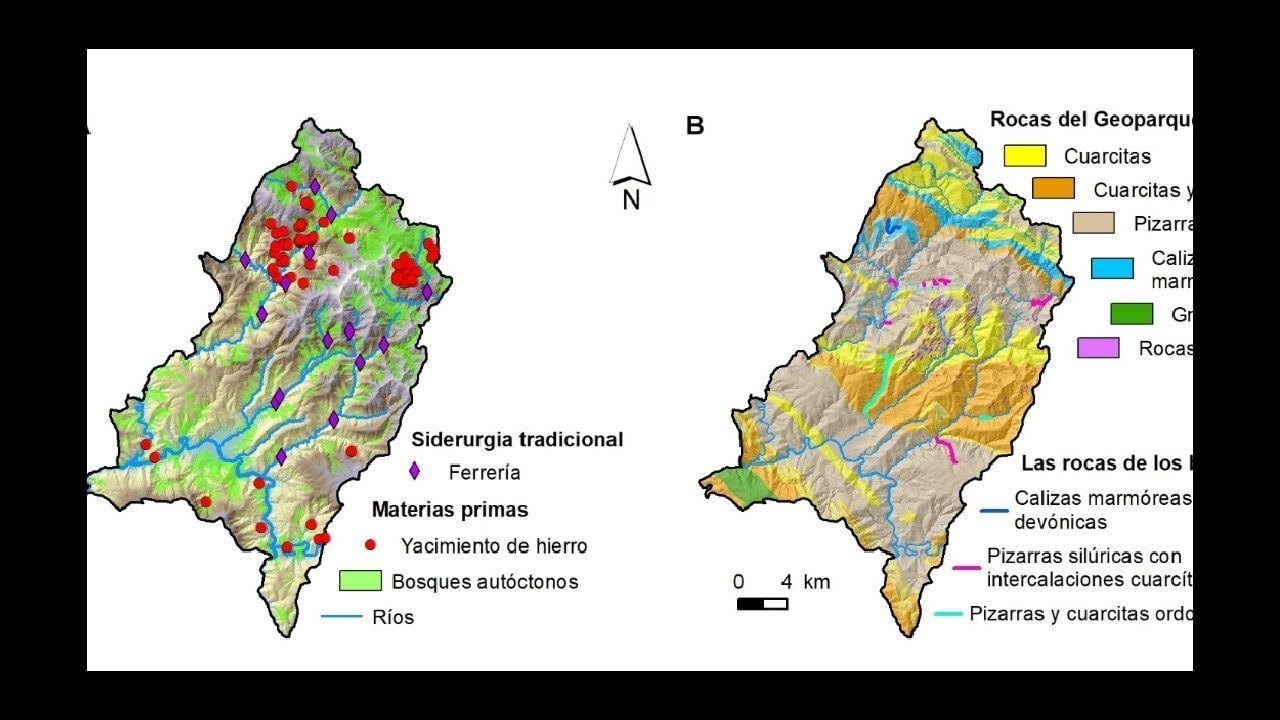 Dos mapas que forman parte de la base de datos del geoparque, uno de siderurgia tradicional ?izquierda? y otro de rocas y barrancos