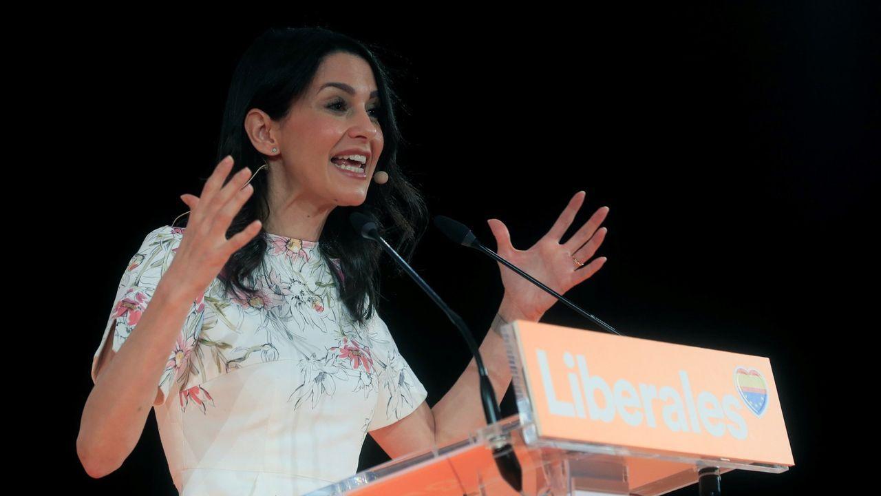 La presidenta de Ciudadanos, Inés Arrimadas, durante su intervención el pasado domingo en Madrid en la clausura de la primera convención política de su formación.