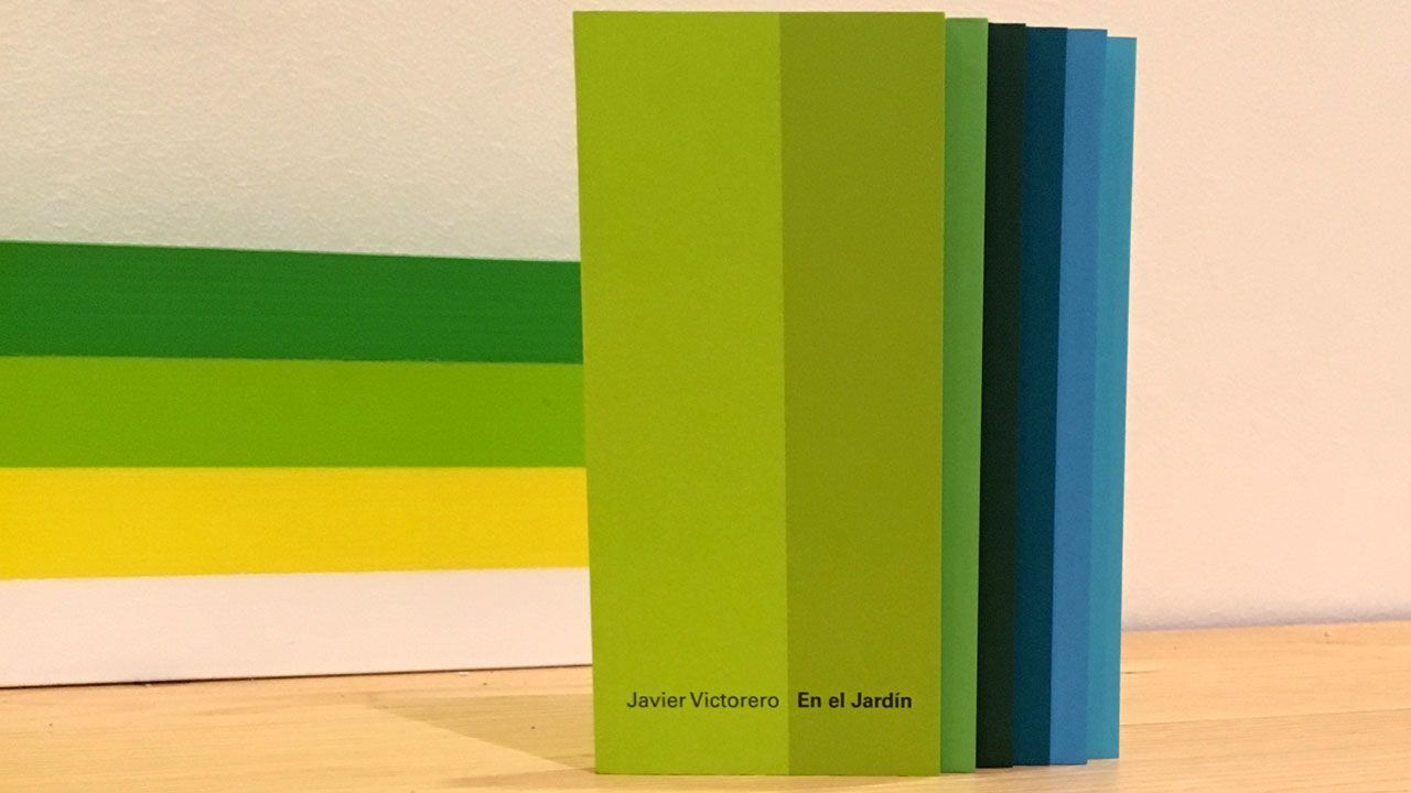 El catálogo de 'En el Jardín', de Javier Victorero, junto a uno de los rincones de su intervención en el Museo de Bellas Artes de Asturias