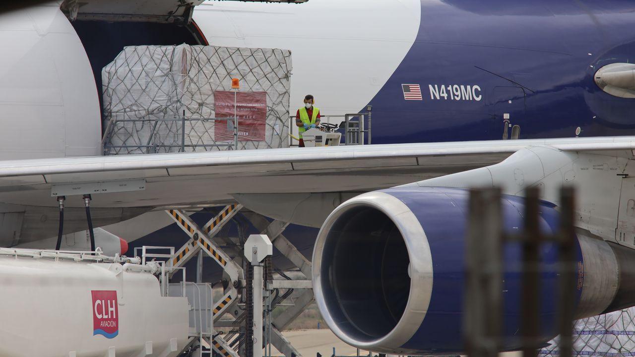 El cargamento llegó en un Boeing 747 de Atlas Air procedente de China