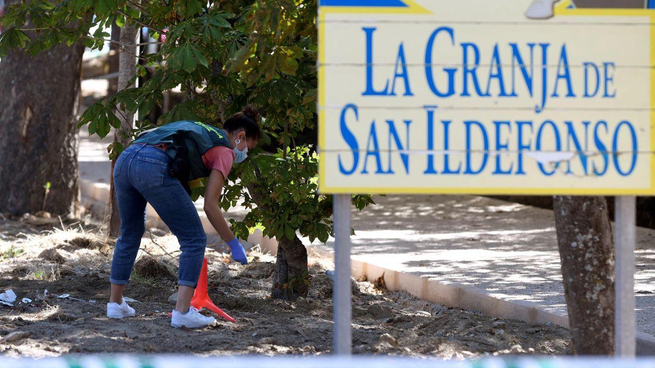Una agente de la Guardia Civil revisa el lugar del crimen