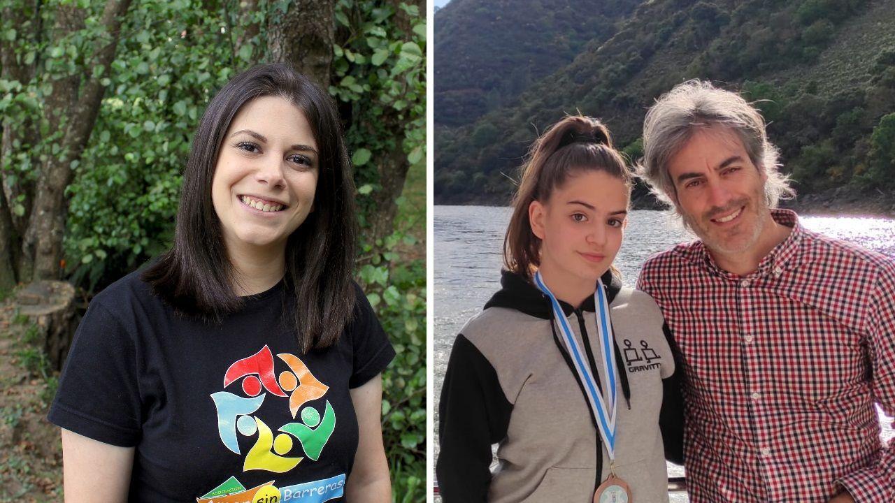 A la izquierda, Lara Lozano, de Cospeito, secretaria de la ONG. A la derecha, padre e hija, Carla Ferreiro y Alberto Ferreiro, mentor de la ONG, de Outeiro de Rei