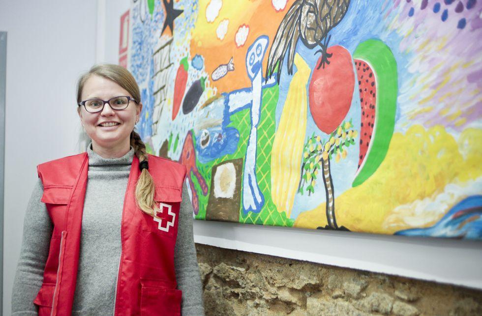 Elena Sherevera, de 40 años, echó raíces en Vilagarcía, donde colabora con Cruz Roja.