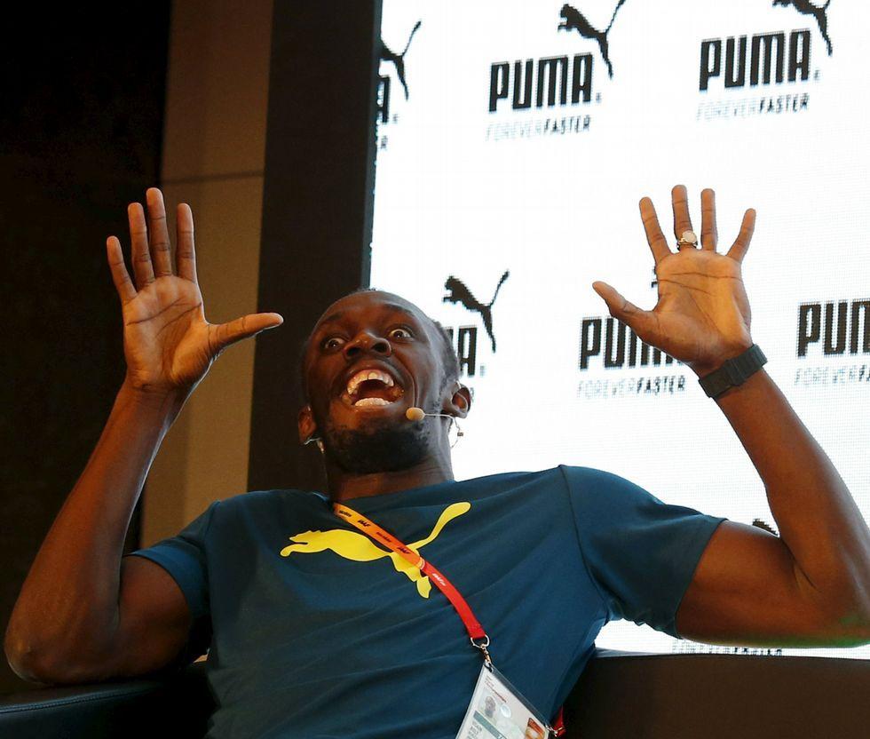 Final masculina de 100 metros lisos.Usain Bolt no se mostró nada preocupado con Gatlin en un acto promocional.